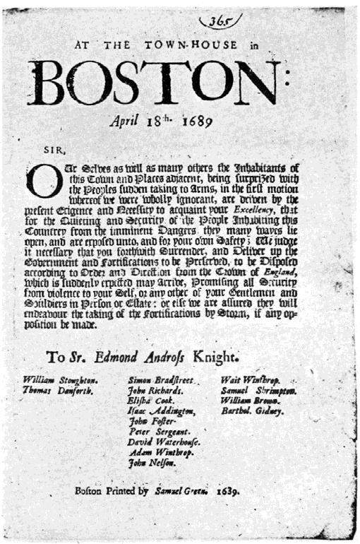 Andros Promotes the First American Revolution Dominion of New England Designed to promote defense