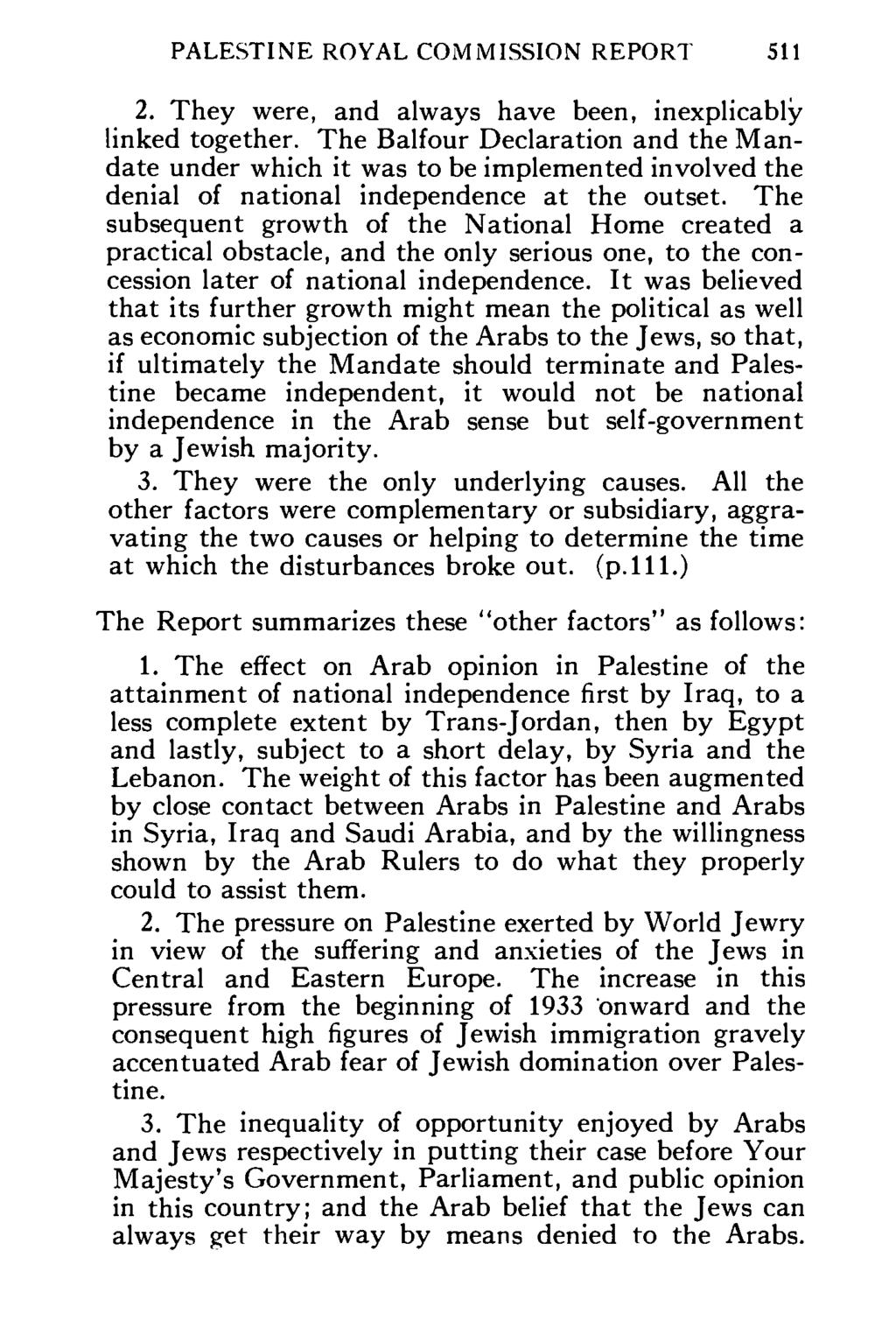Palestine Royal Commission Text Of Official Summary Of Its Report Pdf