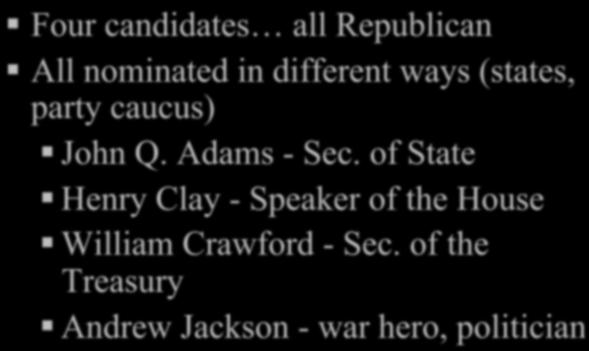 of State Henry Clay - Speaker of the House William Crawford - Sec.