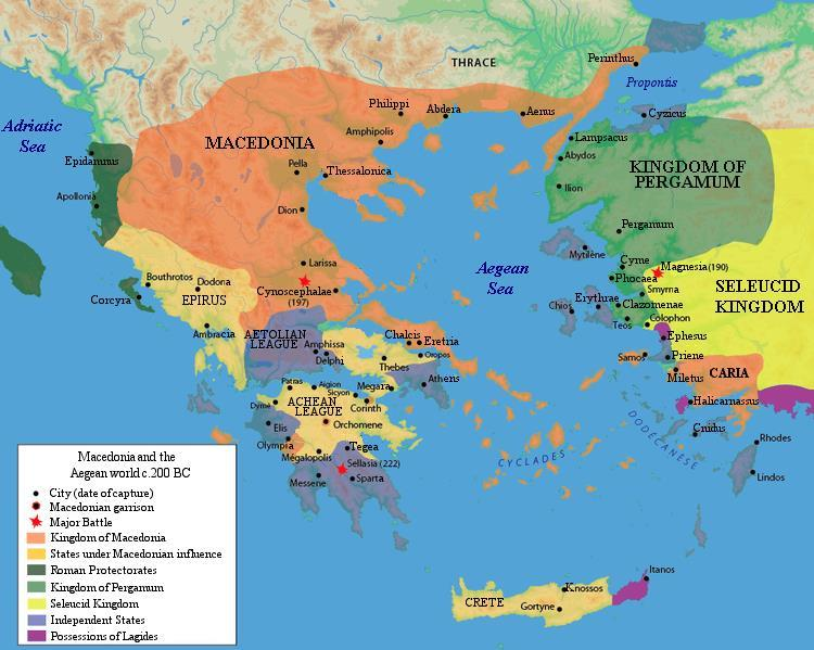 Rome Conquers Greece By 168 b.c.e. the Romans had conquered Macedonia and much of the