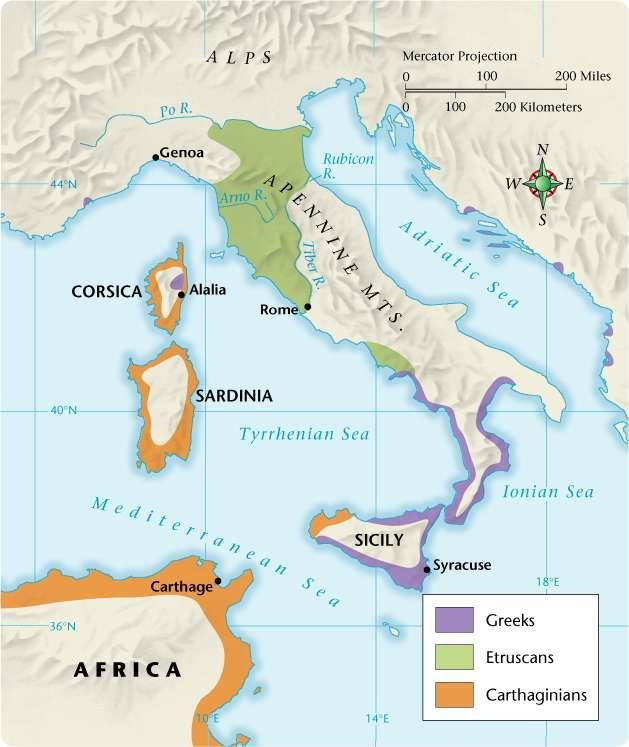 Geography and Rome Rome is located in the center of the Italian peninsula where fertile plains supported a