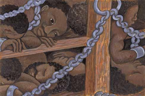 Enslaved Africans were transported from Africa to North America. They were packed onto ships that sailed thousands of miles across the ocean.