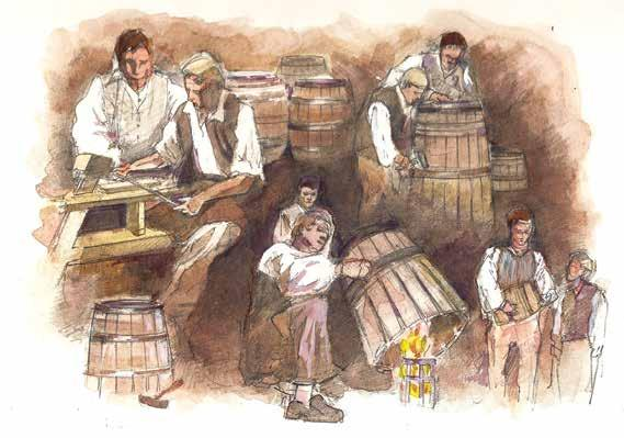 Making barrels was an important skill. sails, while blacksmiths made the ships anchors. Men called coopers made barrels to hold cargo, food, and fresh water for long voyages.
