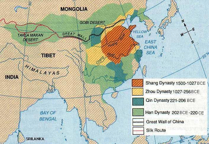Early Chinese Civilizations Geography impacts China Two main rivers support civilizations Huang He (Yellow) in north Chang Jiang (Yangtze) in south Eastern coast is best farming area Mountains and