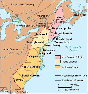 The Colonies as Regions (differences in