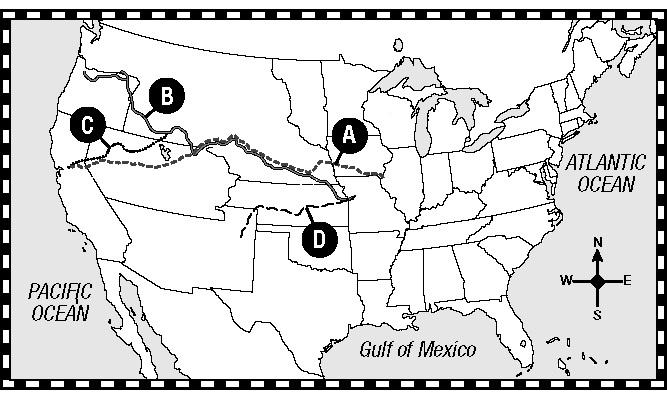 Match the letter of each trail on the map to the correct name of the trail 35) c California Trail 36) d Oregon Trail 37) b Mormon Trail