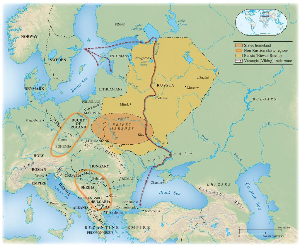 Map 10.3 East European Kingdoms and Slavic Expansion c. 1000 Beginning around the 5th century C.E., the Slavs moved in all directions from their lands around the Pripet River in what is today Ukraine and Belarus.
