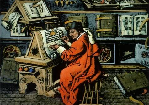 Monk in a Scriptorium Many of the books used for education in medieval Europe were reproduced by monks.