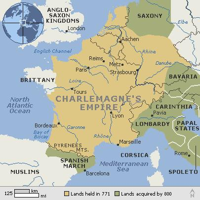 Charlemagne's Empire in 800 Under the rule of Pepin the Short and his son Charlemagne, the Carolingians of the 8th and 9th centuries conquered vast territories and combined large