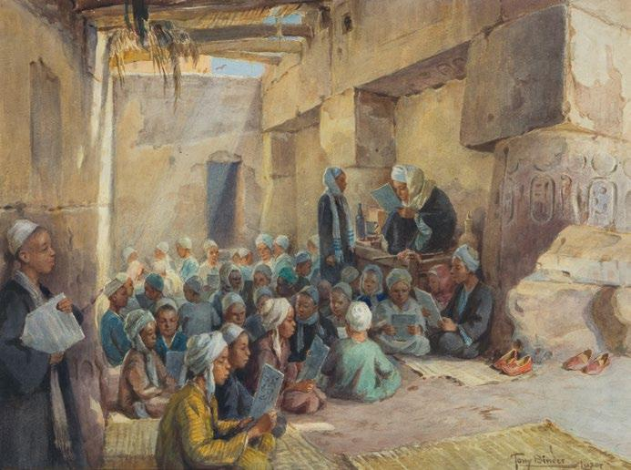 93. Tony Binder (Austrian, 1868-1944) The Qur'anic lesson in Luxor