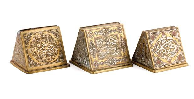 A pair of Syrian Islamic Brass Vases مزهريتان نحاسيتان سوريتان مرصعتان بالفضة والنحاس وبنقوش إسالمية damascened silver and copper scrolling tendrils and medallions with calligraphy.