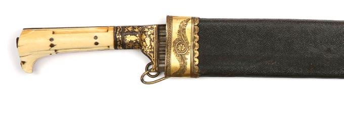 Silver plated gold scabbard engraved with floral patterns, fish scale motifs fish head at the chape and five hanging coins (later addition).