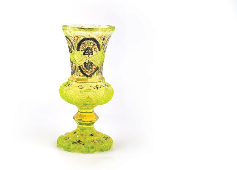 199. Yellow Bohemiam Cut Glass Vase مزهرية زجاجية بوهيمية باللون األصفر decorated with hand painted silver arches, floral enameling and silver and gold gilt