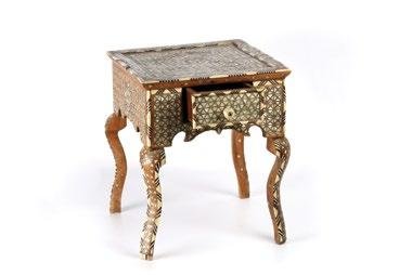 Small Syrian Side Table طاولة سورية جانبية صغيرة with chevron pattern bone inlay along the edges and geometric patern of inlaid mother-of-pearl and bone in metal setting.