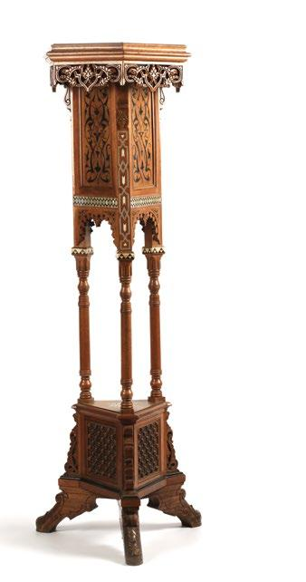 Egyptian Wood Hexagonal Jardiniere Stand حامل زهور مصري خشبي سداسي الشكل with openwork around the top, mother-of-pearl and bone decorative inlay, and mashrabiya style panels above the carved feet.