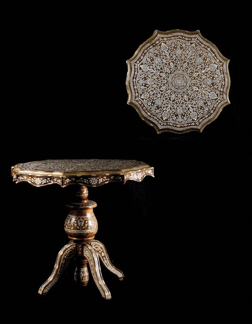 236. Syrian Ottoman Table Inlaid with Mother-of Pearl and Bone طاوله سورية من الطراز العثماني مرصعة بعرق اللؤلؤ والعاج in metal setting forming a large lotus pattern on the top.