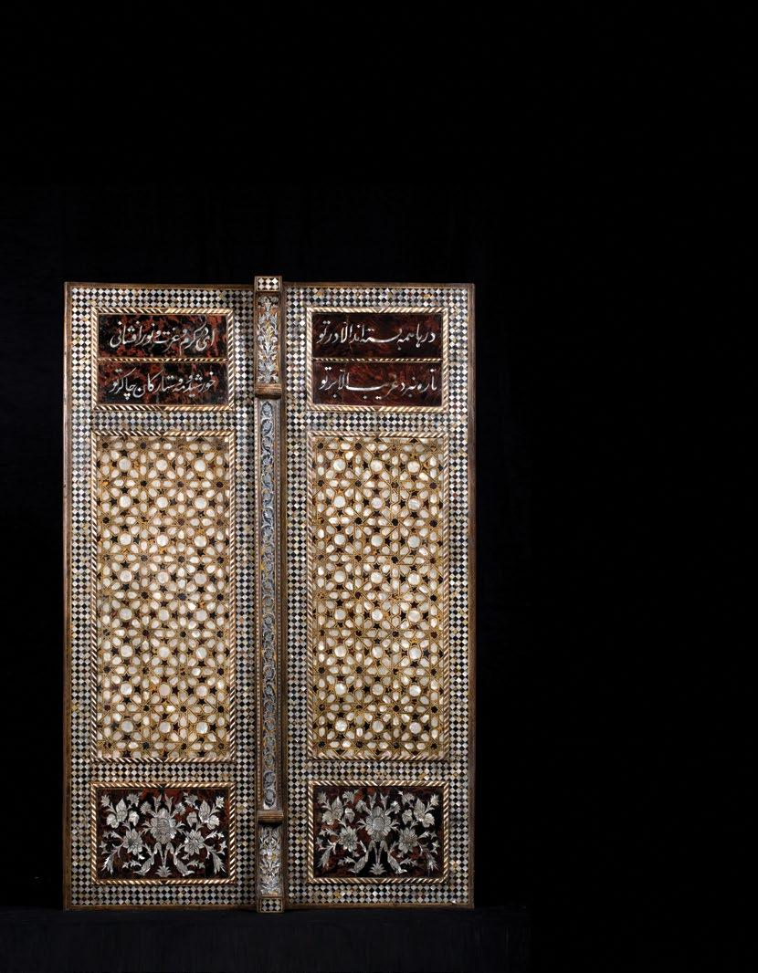 239. An Ottoman Tortoiseshell and Mother-of- Pearl Qur an Cabinet حافظة قرآن عثمانية مرصعة بعرق اللؤلؤ وعظم ظهر السلحفاة In three parts, the top part of dome shape with mother of pearl and