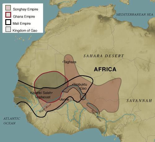 SUDANIC EMPIRES GHANA, MALI, SONGHAI All three started in the Sahel region around the headwaters of the Niger River These Empires