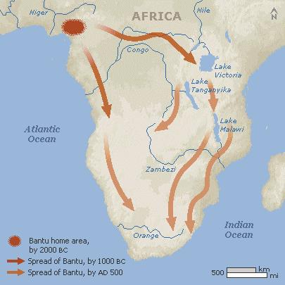 BANTU MIGRATIONS Long complex process where two groups of Bantu speakers eventually linked up Bantu based languages began to