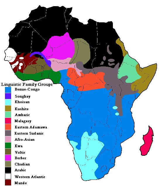 MODERN LANGUAGE FAMILY MAP OF AFRICA What language family