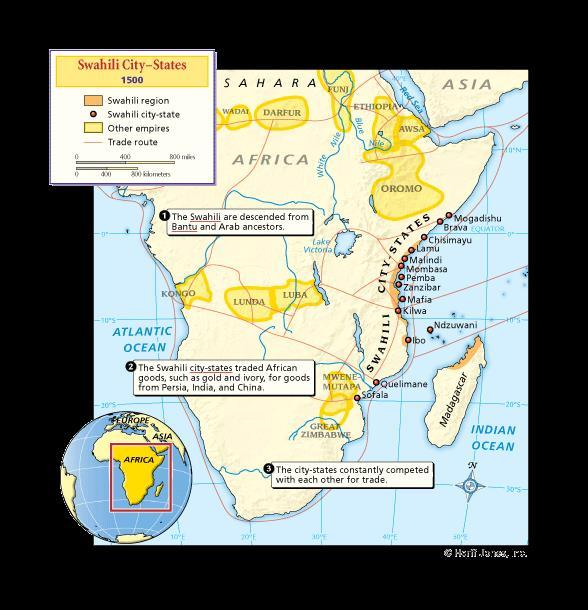 SWAHILI CITY-STATES A large scale ocean trading network developed on the Indian Ocean Chinese, Indian and Arab merchants all began trading on the East African coast Swahili