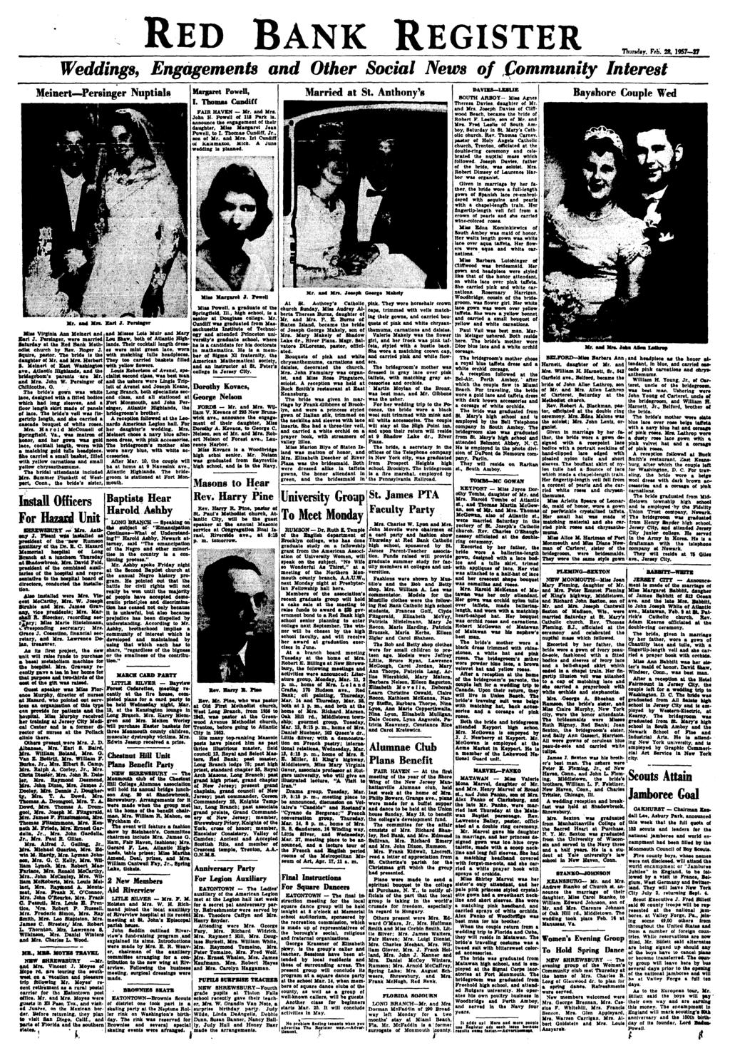RED BANK REGISTER Thursday. Feb. 28, 1957-27 Weddings, Engagements and Other Social News of Community Interest Meinert Pereinger Nuptials MIH Virginia Ann Melnert and Karl J.