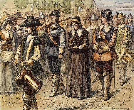 ) Puritan leaders banished her She was charged with antinomianism, which