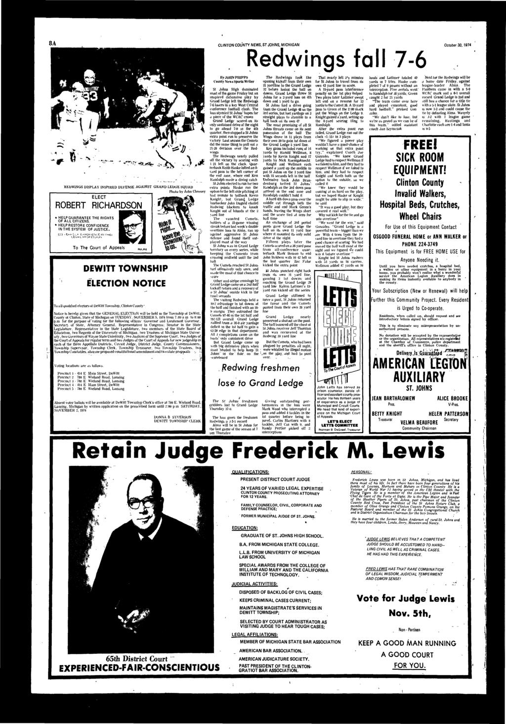 CLINTON COUNTY NEWS, ST JOHNS, MICHIGAN October 30,1974 Redwings fll 7-6 **»* -**-*«.^tojk,m.