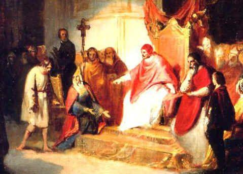 authority over all monarchs Investiture Contest Controversy Pope Gregory VII excommunicated Holy Roman Emperor