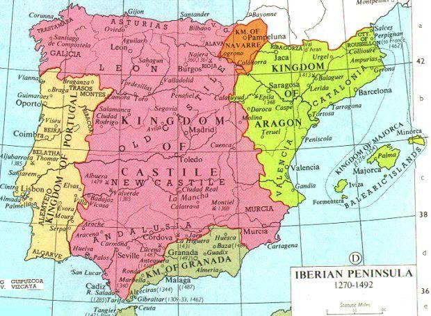 Iberia At the beginning of the period, the Iberian peninsula was split between a small northern Catholic region and the predominant Muslim states in the