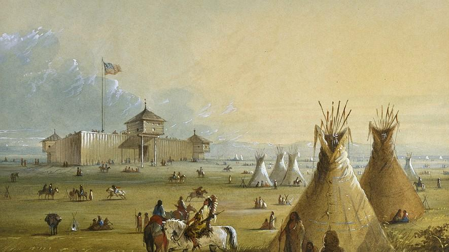 An Overview of U.S. Westward Expansion By History.com on 04.28.17 Word Count 1,231 Level MAX The first Fort Laramie as it looked before 1840. A painting from memory by Alfred Jacob Miller in 1858-60.