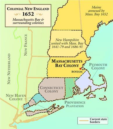 Massachusetts Bay Colony Wealthy non-separatist Puritans granted royal charter to settle Massachusetts Bay Salem 1 st