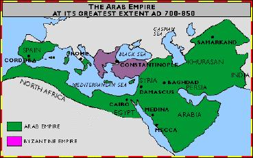The Arab Empire Stretched from Spain to India Extended to areas in Europe, Asia, and Africa Encompassed all or part of the following civilizations: