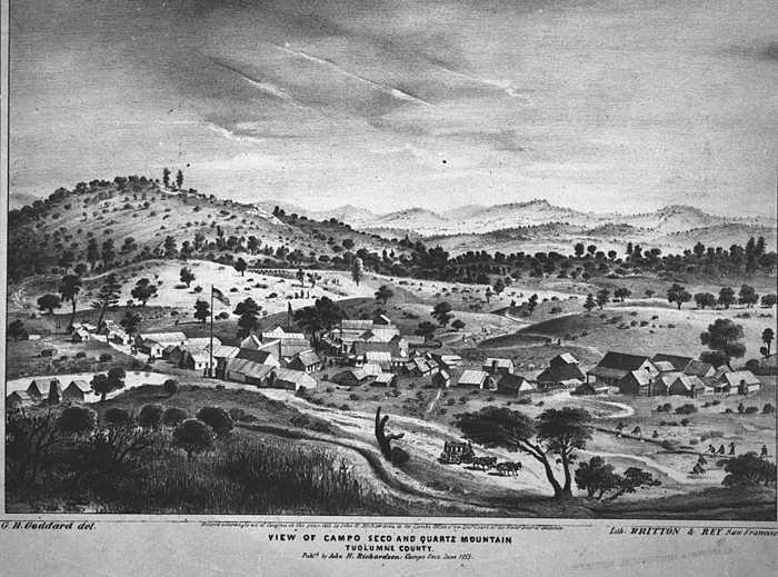 The California Gold Rush Mining Camps developed along streams and rivers of the