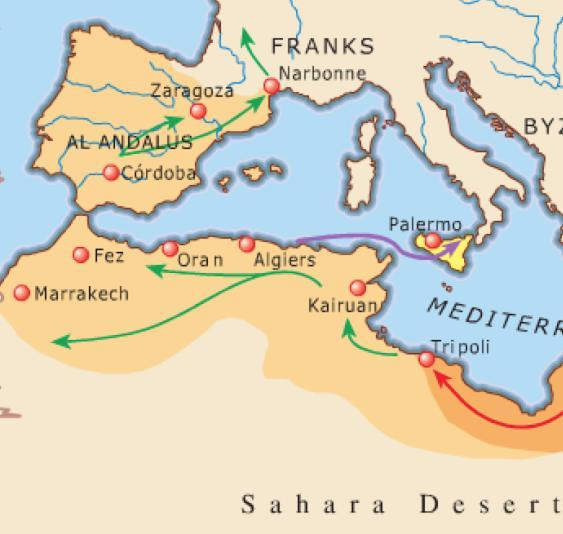 Expansion 633 750AD E U R O P E 711 732 Muslims cross from North