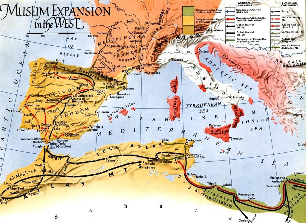Muslim Invasions Islam swept out of the Middle East across the Mediterranean world as the Germanic tribes took over Europe Muslims built a huge empire and created a